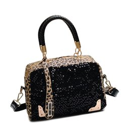 Wholesale Sky Saddle - Wholesale- 2017 High quality Brand Leopard Women Shoulder Bags Sequins Metal Decorative Evening bags PU Women Leather Handbags