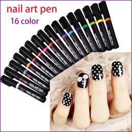 Wholesale 3d Nail Painting - New Nail Art Pen 16 Colors Nail Polish Pen 3D DIY Decoration Set Manicure Pedicure Beauty Tools Painting Pens 2017
