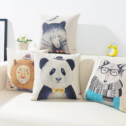 Wholesale Chic Cushion Covers - 4 Styles Hipster Animals Cushion Covers Hand Painting Chic Bear Panda Wolf Lion Bird Cushion Cover Sofa Decorative Beige Linen Pillow Case