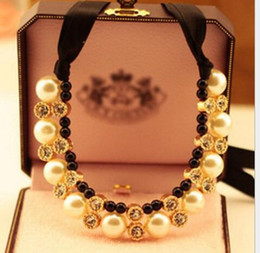 Wholesale Gold Plated Jewellery For Sale - Ladies Bib Choker Jewellery Pearl Necklace Design Pendant Statement Necklaces Pearl Necklace Free Shipping Hot Sale Xmas Gift for Lady
