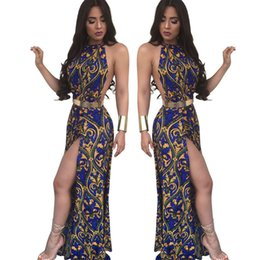 Wholesale Womens Dress Maxi Asymmetrical - 2017 New Summer Womens casual Beach Maxi Dresses Sexy Boho Backless Maxi Dress Women fashion High Split print slim long dress free shipping