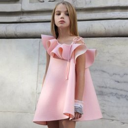 Wholesale Dress Child One Shoulder - girls dresses Ruffle Collar One Shoulder Princess Dress New 2017 Pink kids dress Summer Children Sundress C661