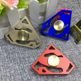 Wholesale Superman Best Toys - Best Aluminum Alloy Superman EDC Fidget Finger Spinner Steel Bearing Hand Spinner Finger Gyro Decompression Toy ADHD Anti Stress Kids Gift