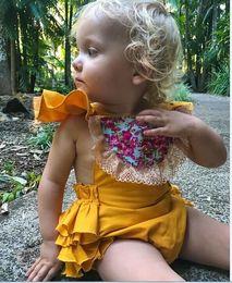 Wholesale Body Tutu - Baby Girls Romper Newborn Lace Bodysuit Cute Body Jumpsuit Sunsuit Flower Clothes 2Colors choose free for 0-18M