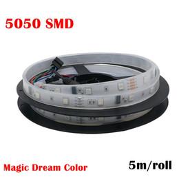 Wholesale Digital Flexible Led - DC 12V 6803 Digital IC 133 Magic Dream Color LED Flexible RGB Strips Light 30LED m IP67 Tube Waterproof SMD 5050 Tape Lamp