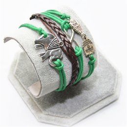 Wholesale Owl Accessories For Girls - Wholesale-One Direction 2016 Hot New Men Bijoux Owl Elephant Multilayer Green Leather Bracelet for Women Accessories Jewelry Girl Bangle