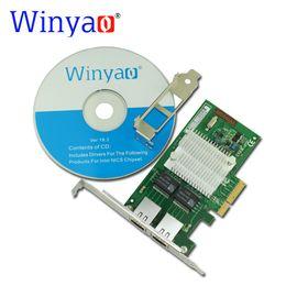 Wholesale Dual Port Network Card - Wholesale- Winyao WY580-T2 PCI-E X4 10 100 1000Mbps Dual Port Gigabit Ethernet Network Interface Card 2*RJ45 Compatible Intel I340-T2 82580