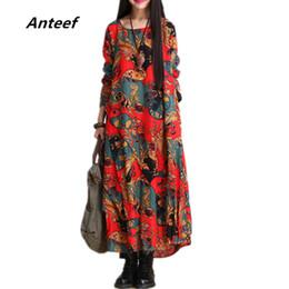 All ingrosso-moda autunno stile cotone lino stampa vintage plus size donna  casual allentato lungo abito da partito abiti femininos 2017 abiti vestito  di ... 5a659e7fa90