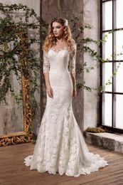 Wholesale Black Lace Translucent Dress - Three Quarter Sleeves A Translucent Back Original Lace Applique Mermaid Wedding Dress Include Bridal Dress New