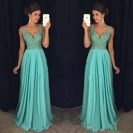 Wholesale Dresses Chifon - Hot Sale Deep V Neck Prom Dresses A Line Chifon Crystals Beading Sweep Train Evening Party Formal Gowns Vestidos Longo