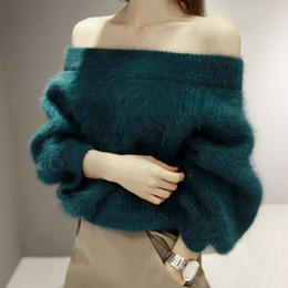 Wholesale Sweater Hair - Wholesale-2016 New women sweater and pullovers Solid Slash Neck Collar Hair Fluffed Imitation Mink Cashmere Sweater Knit Faux Skin