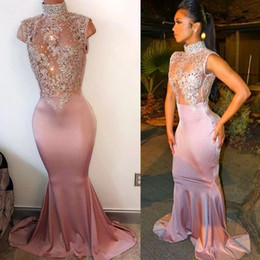 Wholesale Stretch Short Dress - Modest High Neck Pearls Sleeveless Prom Dresses 2017 Mermaid Sheer Lace Appliques Cap Sleeves Long Train Stretch Evening Gowns BA4598