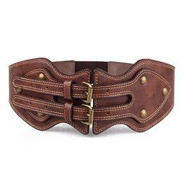 Wholesale Brown Wide Belt Buckle - New Arrivals 2017 brand designer belts Vintage PU Women's Belt Double buckle Elastic Wide belt Lady coat girdle brown