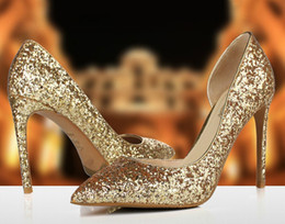 Wholesale Pearl Lighter - 2017 Hot Sale New style high heels shoes Bright golden crystal wedding bride lighter shoes for women's shoes DHL free shipping