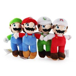 Wholesale Mario Luigi Dolls - In Stock 10inch 25cm Cartoon Super Mario Bros Stand MARIO LUIGI Plush Toy Stuffed Doll Baby Toys Kids Gift 100pcs