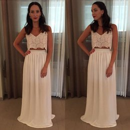 Wholesale Spaghetti Strap Skirt Top - 2017 Bohemian Wedding Dresses Two Pieces Spaghetti Straps Lace Top Chiffon Skirt Beach Boho Wedding Bridal Gowns Unique