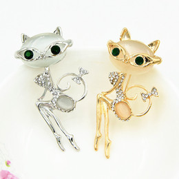 Wholesale Sexy Asians - Opal Stone Sexy Cat Brooch Pretty Green Crystals Eyes Lovely Cat Brooch Pin Girls Scarf Pins