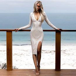 Wholesale Sexy White Lace - 2017 Sexy bodycon dresses Lace Split women clothing Spring Autumn Deep V Neck White Slim pencil dress Party Vestidos Long Sleeve