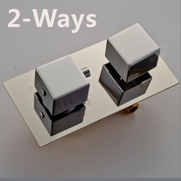 Wholesale Concealed Shower Valves - Chrome Brass 2-3 Ways Thermostatic Shower Mixer Valve Temperature Control Concealed Mixer Faucet Cartridges