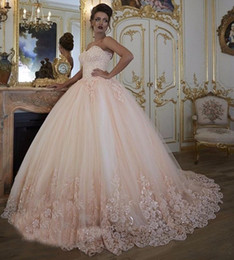 Wholesale Turkey Bridal Dresses - Vintage Blush Pink Ball Gown Wedding Dresses 2017 Turkey Lace Bling Beaded Tulle Sweetheart Corset Back Puffy Plus Size Bridal Gowns