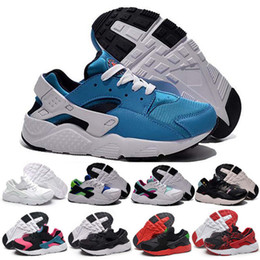 Wholesale Authentic Children - 2016 New Kids Air Huarache Sneakers Shoes For Boys Grils Authentic All White Children Trainers Huaraches Sports Running Shoes