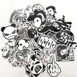 Wholesale Pack Guitar - 60PCS Pack Random music Skateboard Guitar Travel Case sticker  Black and white  Car decal Cute Stickers fashion funny sticker