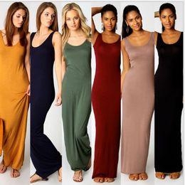 Wholesale Cotton Print Dresses For Women - 15pcs Qucik selling all match Summer Casaul loose Modal Dress Stretchable Long Dress Vest Tank Beach Maxi Dress bodycon dresses For Women