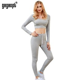 Wholesale Sexy Leggings Two Piece - Gagaopt 2016 Women Tracksuit Fitness Set Sexy Leggings And Pullover Sweatershirt Long Sleeve Skinny Pants Women 2 Piece Sets