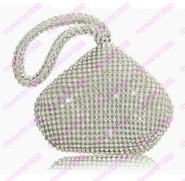 Wholesale Ladies Finger Ring Gold - Rhinestones Women Clutch Bags Diamonds Finger Ring Ladies Vintage Evening Bags Crystal Wedding Bridal Handbags Purse Bags Holder