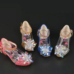 Wholesale Wholesale Girls Sandals Diamonds - 2017 Spring Kids Dance Shoes 2017 Children's Shoes Cinderella Princess Polished Diamond Crystal Heeled Girls Sandals Jelly Casual Shoe CK240