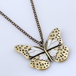 Wholesale sweaters butterfly - Long Sweater Gold plated Butterfly Pendant Necklace Vintage Drop Oil NE208