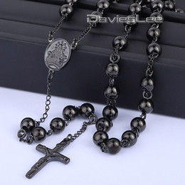 Wholesale Stainless Necklace 8mm - Wholesale- 4 6 8mm Mens Chain Rose Gold Black Tone Stainless Steel Bead Chain Crown Rosary Jesus Christ Cross Pendant Long Necklacce LKN372