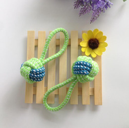 Wholesale Dog Ball Rope Toys - Pet cotton rope knitting ball dog dog teeth bite single earrings 14cm.Weaving two-color single earrings