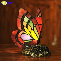 Wholesale Glass Table Lamps For Bedroom - FUMAT Butterfly Table Lamp Art Decor Stained Glass Lights For Living Room Butterfly Tiffany Bedroom Hotel Bedside Table Lamps
