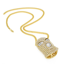 Wholesale Mens Figaro - Hip Hop Full CZ Rhinestone CSGO Pendant Necklace Mens Punk Style Alloy Gold Silver Plated Mask Head Charm Pendant Chain