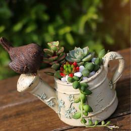 Wholesale Resin Birds Decorations - Creative Watering Can Kettle Bird Design Flower Pots Resin Succulent Plants Planter Home Desktop Decoration Gift ZA3061