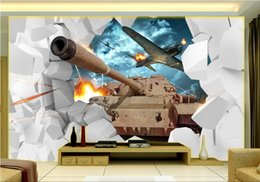 2017 break fotografías 3d room wallpaer foto mural de encargo Tanque de pared roto TV Walls pintura pintura de pared picture 3d wall murals wallpaper for walls 3 d break fotografías en venta