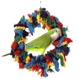 Wholesale Pet Cockatiel - Large Colorful Cotton Ring Ropes Pet Bird Parrot Swing Toys Hanging Chew Toy African Gray Parakeet Hammock Cockatiel Cage Decor