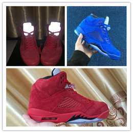 Wholesale Blue Reflective Fabric - 2017 New Air Retro 5 V Raging Bull Red Suede Blue Reflective Men Basketball Shoes Sports Sneakers top quality Wholesale box Size 7-13