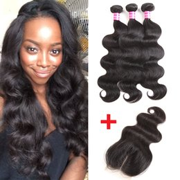 Wholesale Natural Brazilian Remy - Peruvian Virgin Hair Bundles Brazilian Body Wave Hair Weaves Silk Base Closure Cheap Remy human hair bundle lace closure Weaves Extensions