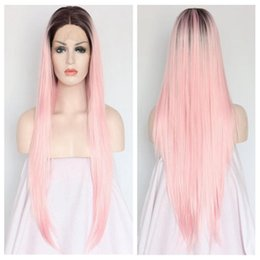 Wholesale wig hot pink long - Hot sale cute pink long hair wig synthetic lace front wig ombre black to pink gluless fiber hair free part wig