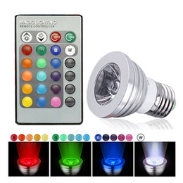 Wholesale Color Changing Mood Led Lights - 3W 5W RGB E27 B22 E14 GU10 Dimmable 16 Color Changing LED Light Bulb With Remote For Decoration Bar Party KTV Mood Ambiance Lighting