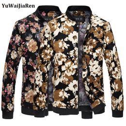 Wholesale Jaqueta Slim Baseball - Wholesale- YuWaiJiaRen Jacket Men Casual Men Coat Stand Collar Men Jacket Fashion Jaqueta Masculina Flower Print Baseball Coats