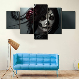 Wholesale Life Colour - 5pcs set Unframed Skull Girl Coloured Drawing on Face Figure Painting On Canvas Wall Art Painting Art Picture For Living Room Decor