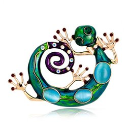 Wholesale Gold Rhinestone Embellishment - Large Blue Opals Enamel Esmaltes Lizard Gecko Snake Brooches Corsage Diamante Embellishments Kihen Broach Coroa Relogio Femini