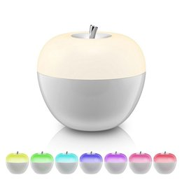 Wholesale Table Lamps For Children - Blowing control Dimmable Apple LED night lights 8 color changing atmosphere Lamp for bedroom Child gift toy table lamps