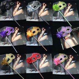 Wholesale Purple Masks Stick - Women Fashion Side Flower Handheld Masquerade Masks Halloween Party Carnival Half Face Masks With a Stick Club Show Masks Mix Order Allowed