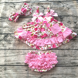 Wholesale Swing Tops Bloomers - Wholesale- 2016 baby summer dress baby girl swing tops swing dress pink flower swing outfits with matching ruffed bloomer and headband set