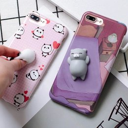 Wholesale Animal 3d Iphone - Phone Case 3D Cute Soft Silicone Squishy Cat Fundas Cover Animal Sleeping Kitty Coque for iPhone 6 6S 6 plus for iPhone 7