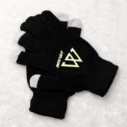 Wholesale Korean Fingerless Gloves - Wholesale- Fashion winner printing black luminous gloves korean style touch screen winter gloves for men women unisex